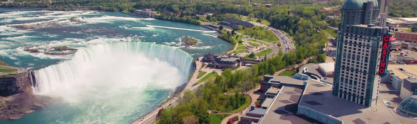 View of Horseshoe Falls and Fallsview Casino in Niagara Falls