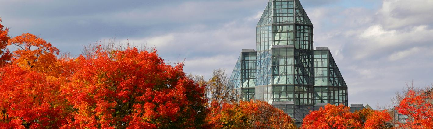 Trees awash in fall colour line the back of a glass building museum