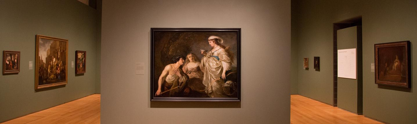 A painting on display in an art gallery room