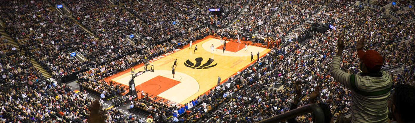 Upper level seat view of basketball court at a Toronto Raptors game